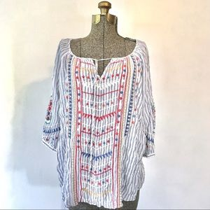 Johnny Was Striped Embroidered Peasant Top